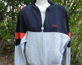 Vintage Vtg 90's Dope adidas Grey/Black/Red fleece zip-up lightweight retro jacket (size Med/Large)