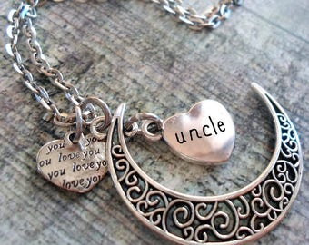 Uncle Filigree Crescent Moon Necklace with Love You Heart, Uncle Necklace, Special Uncle Gift, Uncle Birthday Gift, I Love My Uncle