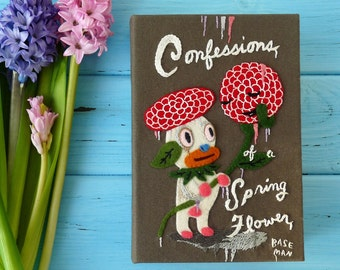 Book Clutch Bag - Confessions of a Spring Flower, illustration by Gary Baseman. Personalized book handbag. Book purse with hand embroidery