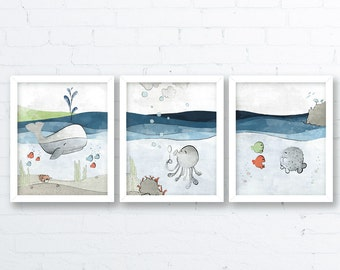 Ocean Nursery Decor - Whale Nursery, Grey Blue Kids Room Art, Baby Fish art print, Nautical Kids Wall art, Nautical Baby Room Decor