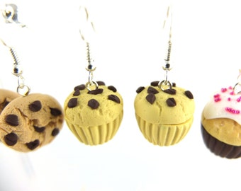 1 pair cupcake earrings muffin