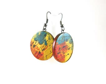 Hand Painted Fused Glass Dangle Earrings