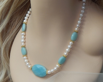 Amazonite and Pearl necklace,Pearl and Amazonite necklace,Blue necklace,pearl necklace,Aqua necklace turquoise necklace,freshwater pearls