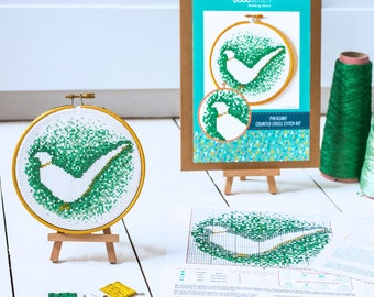 Modern cross stitch kit - Pheasant contemporary cross stitch from The Woodland Collection