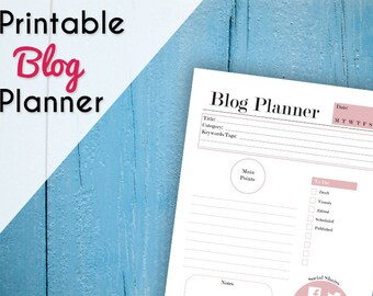 Printable Blog Planner - Blog Post Plan - Social Media Planner - Blogging Printable Planner - Blog Organization - A4 & 8.5 x 11 - Pink