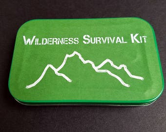 Recycled Tin Wilderness Hiking Emergency Survival Kit