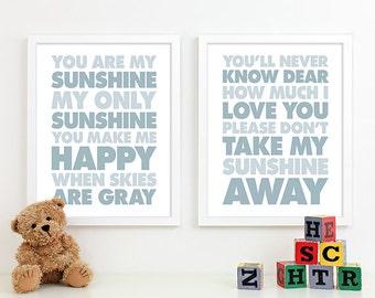 Baby Boy Nursery Decor Boys Nursery Art, Baby Boy Gifts, Boy Nursery Wall Quotes Lyrics You Are My Sunshine Nursery Subway Art - 8x10