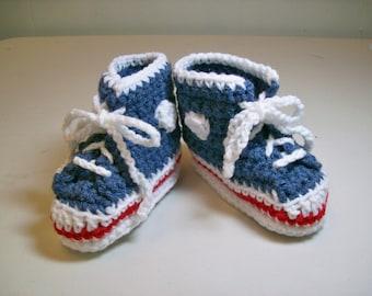 Baby Booties Hi-top Sneakers Denim Crochet Baby Shoes Converse Style