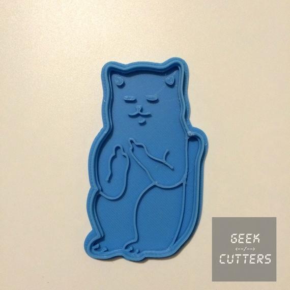 Cat Middle Finger Cat Flip Bird Cookie Cutter  - *Dishwasher safe option* - 3D Printed <-- Mature -->