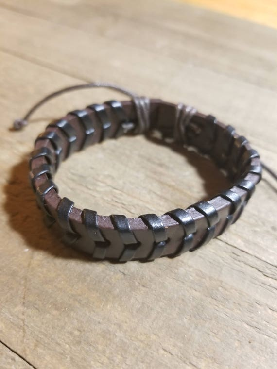 Brown Black Leather Weaved Adjustable Bracelet Native American Style Fashion Cuff (B3)