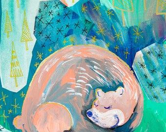 Woodland Wall Art, Kids Bear Nursery Decor, Animal Illustration, Sleeping Bear Dunes, Childrens Art, Bear Print, Girls Woodland Nursery