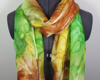 Emerald Green Scarf ~ Hand Painted Silk Scarf, Valentine's Present for her, Green Shawl, Gift for Girlfriend, Custom Valentines Gift