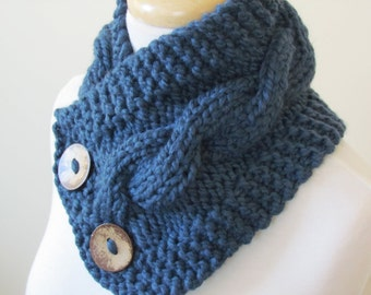 "Knit Neck Warmer, Cable Knit Scarf,  Chunky Warm Winter Scarf in Denim 6"" x 25"" Coconut Shell Buttons Ready to Ship - Gift for Her"