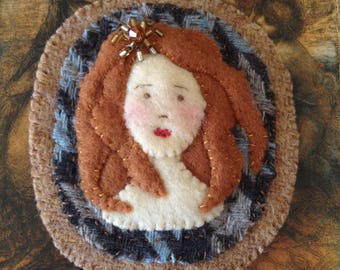 Shy Girl Portrait, sew on patch, wool and felt patch