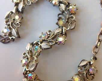 Vintage Seventies Sparkling Crystal Floral Necklace