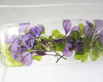 Purple Lobelia,  Barrette, Real Flower Hair Accessory, Pressed Flower Jewelry (1919)