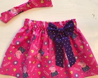 Peppa Pig skirt, infant, toddler, girl, headband