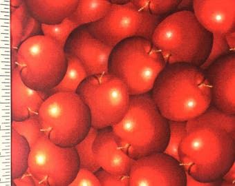 Cherry Fabric by the yard , Huge Red Cherries on high quality cotton fabric , Fruit print for sewing / quilting / crafting