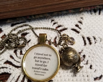Travel Quote Globe Charm Necklace, Travel Gift, Globe Necklace, Robert Louis Stevenson Quote, Book Nook, Book Quote Necklace, MarjorieMae