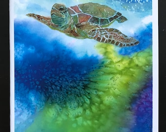 Fine Watercolor Art Made Into All Occasion Card Set With Sea Turtle In The Ocean Among Coral Reefs, Colorful & Unique by Janet Dosenberry