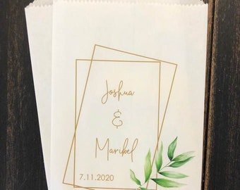 Tropical Geometric Wedding Favor bags, 25 Modern favor bags, Palm Leaf Greenery treat bags, Green and Gold Wedding, Personalized