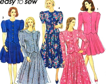 Simplicity 8168 Easy to Sew Woman Flared Skirt, Single Breasted Semi-Fitted Top, Two-Piece Dress Size 12, 14, 16 Vintage 1990s UNCUT