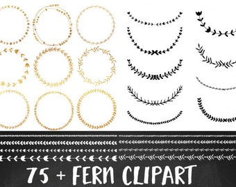 Gold Wreath Clipart, Gold Foil Clipart, Fern Clip art, Commercial Use, Wreath clipart, Border clipart, Laurel Clipart, Wedding Clipart, Gold