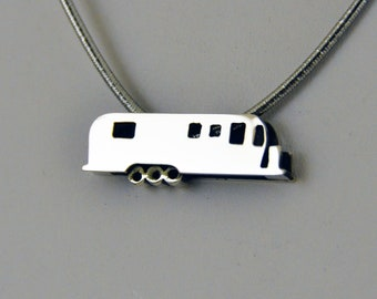 Sterling Silver Tri-Axle Iconic Travel Trailer Pendant by CGSilverworks