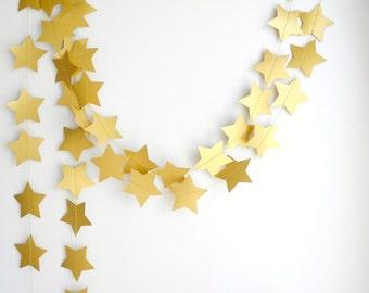 Gold Bronze Star Garland, Wedding decoration, Gold party garland, Holiday garland,  New Year's decor