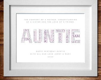 Auntie Personalised Word Art print* A4, A3 or Digital PDF