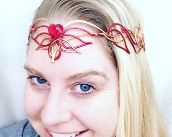 Elven Circlet - FLAMING HEART - Phoenix Headdress - Hand Wire Wrapped - Bridal Crown Wedding Tiara Hairpiece - Elvish Headband