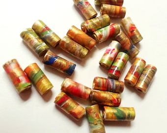 Multicolored Sealed Paper Beads with Gold Accents