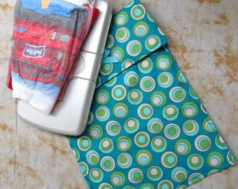 diaper bag accessory, baby wipes bag, diaper clutch, baby accessory, nursery, child and baby care,new mom gift green and blue dizzy dots