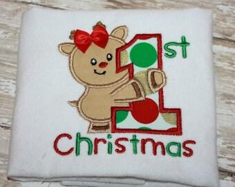Christmas Shirt-1st Christmas Bodysuit- Reindeer Shirt- Boy-Girl-Baby- Toddler-Holiday Shirt-My First Christmas Shirt-Applique Shirt