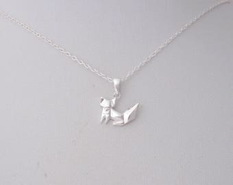 Small ORIGAMI FOX sterling silver charm delicate necklace, minimalistic charm jewelry