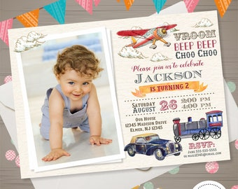Transportation Birthday Invitation with PHOTO Retro Car Train Airplane Invitation Boys Automobiles Invite Vintage Vehicles Birthday Party