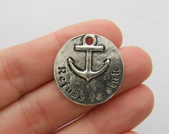 2 Refuse to sink charms antique silver tone M654