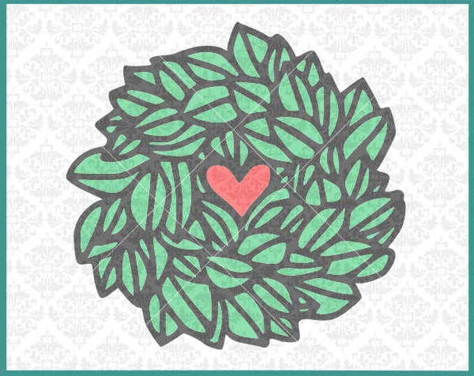 CLN0326 Magnolia Wreath Heart Hand Drawn Southern Romance SVG DXF Ai Eps PNG Vector Instant Download Commercial Cut File Cricut Silhouette