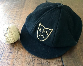 Black Woollen Baggy Cricket Cap Junior Club Sports Hat Pure Wool