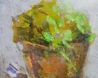 Summer Plants 1, Original Mixed Media Painting on Canvas Board