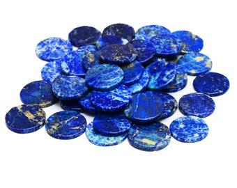Lapis Lazuli Round Coins | Deep Blue Natural Gemstone| 20 mm & 18 mm Disc | 3mm Thickness| Lot of 5 Pieces.