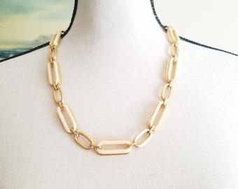 Givenchy Paris 1970s Modernist Lucite Necklace Bracelet Set Ivory Chain Link Demi Parure Vintage Designer Couture Signed Statement Jewelry