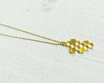 Small Honeycomb Silhouette Charm on Gold Plated Chain || Minimal Jewelry Pendant Necklace || Canadian Seller || Bee Happy