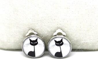 Clip On Earrings CATs, CAT,resin earrings, clip on,cat earrings