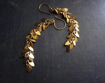 Leaf Earrings,Long Chain Earrings,Chain Earrings,Gold Chain Earrings, Long Earrings Gold,Gold Leaves,Shimmery,Autumn,Shimmery,Gold Leaf