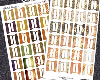 File Tab Autumn and Fall Adhesive Blank Planner Dividers | Planner Tabs | Custom Dividers | Monthly Planner | Custom Divider Tabs