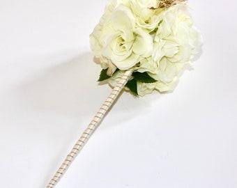 Ivory Rose Silk Flower Wand Wedding Bouquet
