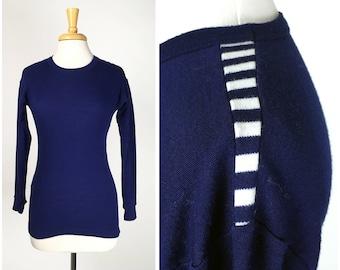 Vintage 80s Helly Hansen Vermont Blue Striped Thermal Long John Shirt Medium Large