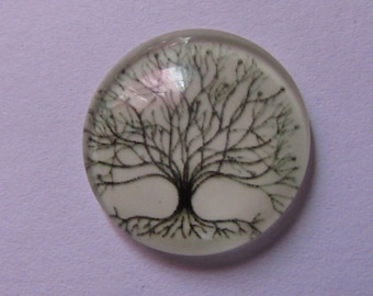 tree cabochon, glass cabochon, 20mm, reflective tree in the night, various models