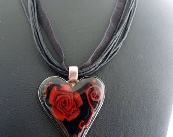 Silver heart, black rose necklace